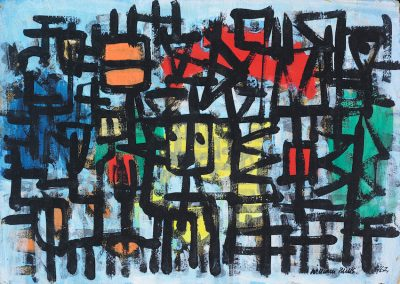 Abstract Figures on Pale Blue