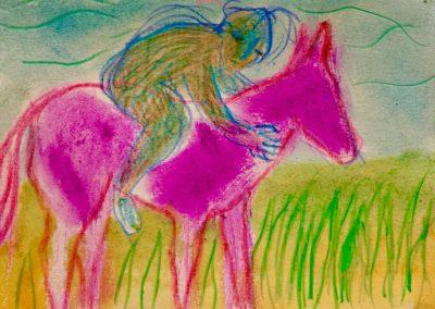 riding a purple pony