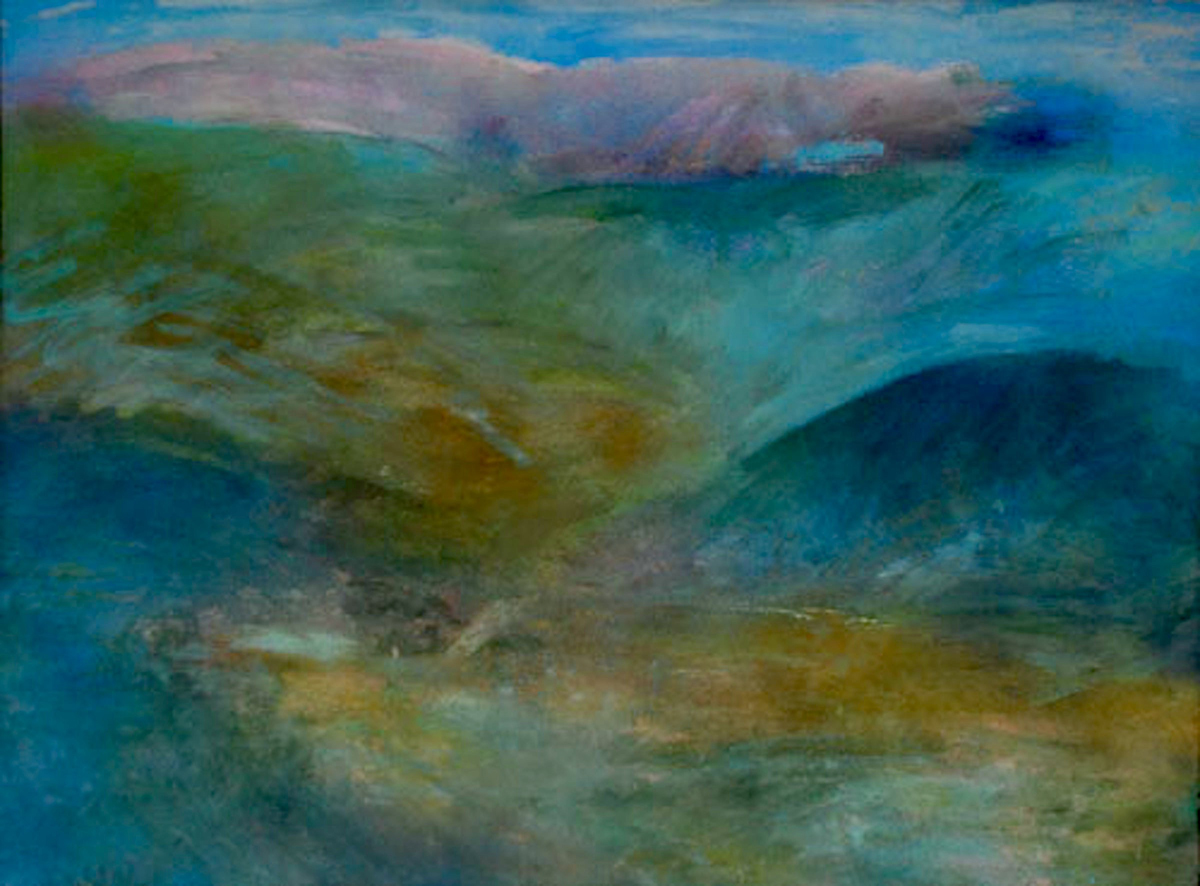 Cader Idris from Bontddu, 1996, acrylic and enamels on canvas, 107 x 153cm