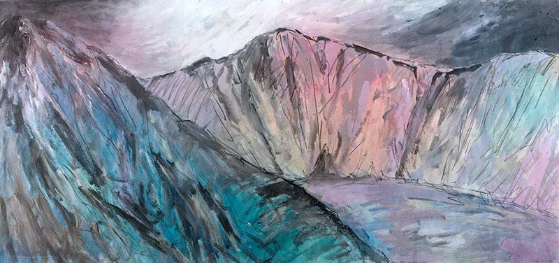 Llyn Y Cau, Cader Idris, 1996, acrylic on paper, 83 x 177cm