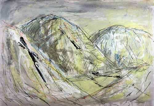 Moel Hebog, 1997, mixed media with luminous paint, 68 x 82cm