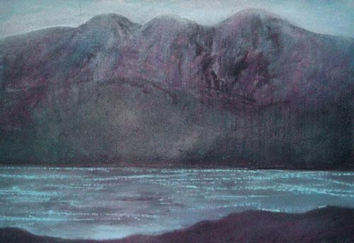 Tal y Llyn, Cader Idris, 2003, acrylic and enamels on canvas, 107 x 153cm